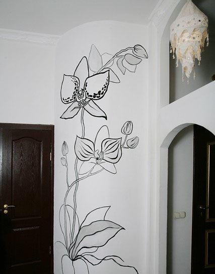 Поздравления, рисунки карандашом прикольные цветы на стене в прихожей